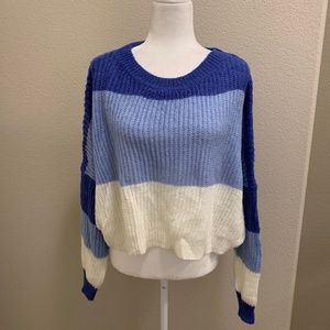 NWT! Zaful Color Block Cropped Blue Knit Sweater